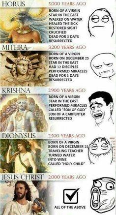 Horus, Mithra, Krishna, Dionysus, Jesus