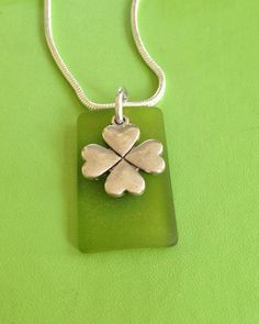 Silver Four Leaf Clover and Sea Glass Necklace by joytoyou41, $30.00