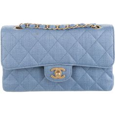 Pre-owned Chanel Classic Small Straw Double Flap Bag (£1,030) ❤ liked on Polyvore featuring bags, handbags, shoulder bags, blue, pre owned handbags, blue purse, chanel, zipper flap purse and straw handbags