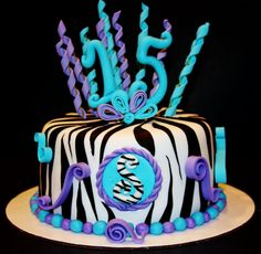 Turquoise Purple Zebra Cake - for the fondant topper Zebra Birthday Cakes, Birthday Cakes For Teens, Sweet 16 Birthday, Zebra Cakes, Purple Zebra, Turquoise And Purple, Cupcakes, Cupcake Cakes, Diva Cakes