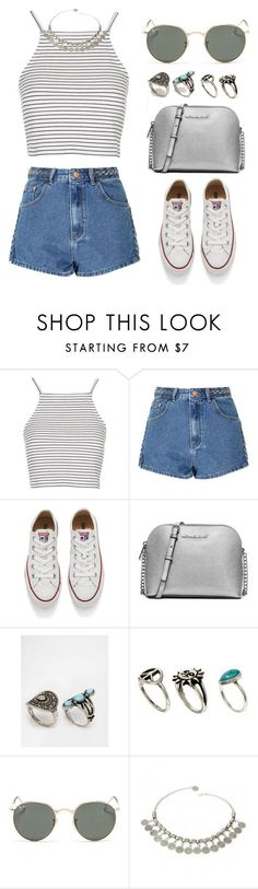 """Без названия #155"" by annafranny ❤ liked on Polyvore featuring Topshop, Glamorous, Converse, MICHAEL Michael Kors, Missguided, ASOS, Ray-Ban, white, Silver and folk"