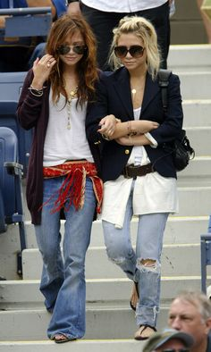 early 2000s bootcut jeans were very popular. They were often embellished with different pins and fabrics.