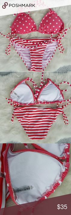New Pink Triangle Polka Dot & Stripe Bikini Brand new Victoria Secret DUPE bikini. Size Medium.  Polka Dot triangle cups with removeable padding. Ties at neck and back making it fully adjustable. Striped bottoms tie at both sides and are also fully adjustable.  Regular cut bottoms. Victoria's Secret Swim Bikinis