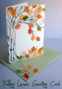 Make your own falling leaves greeting card