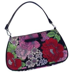 Pre-owned Lulu Guinness Floral Canvas Small Floral Print Baguette ($150) ❤ liked on Polyvore featuring bags, handbags, clutches, floral print, lulu guinness handbags, white canvas handbag, floral print handbags, floral handbags and white clutches