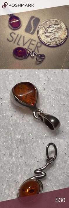 Pair of solid silver & real amber pendants For the person who loves amber, this lovely 🍐 of real amber and solid silver pendants from the UK would be a great addition to their wardrobe as all they need is a silver chain and the are so easily changed over. Beautifully made with the silver encasing the real amber pieces very safe and snuggly. Jewelry Necklaces