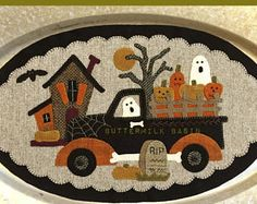 Wool Applique Quilt Pattern from Buttermilk Basin Table Oval Truck Series October Wool Applique Quilts, Wool Applique Patterns, Wool Quilts, Wool Embroidery, Felt Applique, Penny Rug Patterns, Halloween Applique, Halloween Quilts, Halloween Crafts