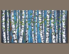 FREE SHIP abstract painting birch trees painting panoramic