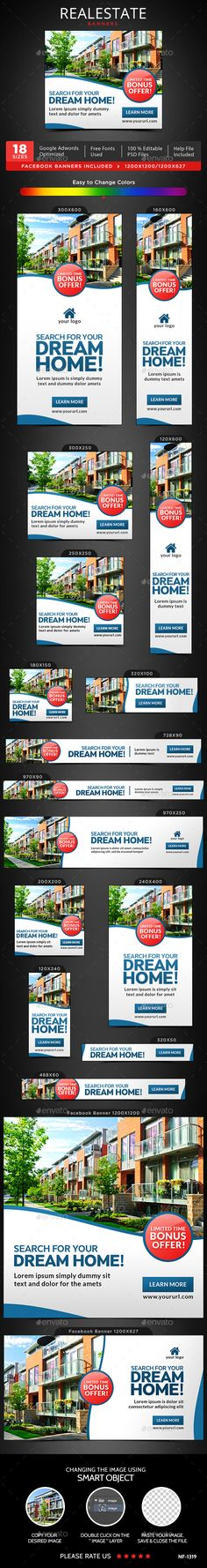 Realestate Banners Template PSD. Download here: http://graphicriver.net/item/realestate-banners/16415059?ref=ksioks