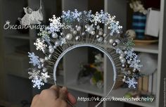 Диадемы, обручи ручной работы.  Ободок со снежинками. Handmade. Серебряный, новогодний подарок