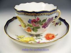 LOVELY MEISSEN HAND PAINTED FLORAL TEA CUP & SAUCER TEACUP
