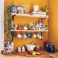 Heres' a fabulously bright color for your kitchen!  Farrow and Ball brings us #IndiaYellow.  While it packs a punch, paired with neutral cabinets and greenery, it isn't overbearing. Sent via @planoly #planoly @patrickstreetinteriors #farrowandball #paint #luxurypaint #interiordesign #frederickmd, #getitdowntown #homeinspiration #marylanddesign photo courtesy of @mrsmeljones Neutral Cabinets, Greenery, Punch, Bright, Paint, Interior Design, Natural, Kitchen, Inspiration