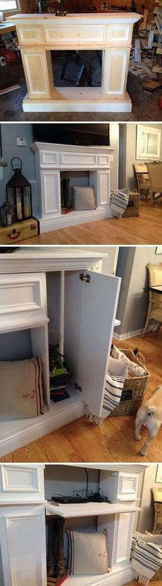 DIY Faux Fireplace Mantle with Hidden Storage Cabinets.