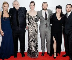 """Rita Ora, director James Foley, Dakota Johnson, Jamie Dornan, author Erika L. James and producer Dana Brunetti attend the UK Premiere of """"Fifty Shades Darker"""" at the Odeon Leicester Square on February 9, 2017 in London, United Kingdom."""
