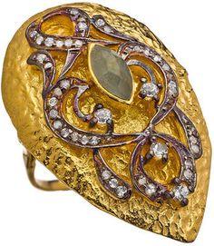 ShopStyle: SKU Hammered Crystal Teardrop Cocktail Ring