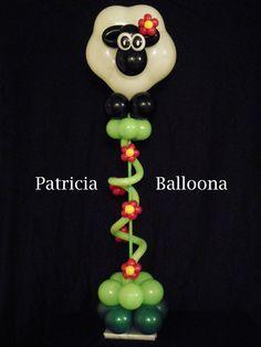 Balloon Sheep Centerpiece made by Patricia Balloona, http://patriciaballoona.wordpress.com/2014/07/15/345th-balloon-sculpture-two-faced-sheep-centerpiece/