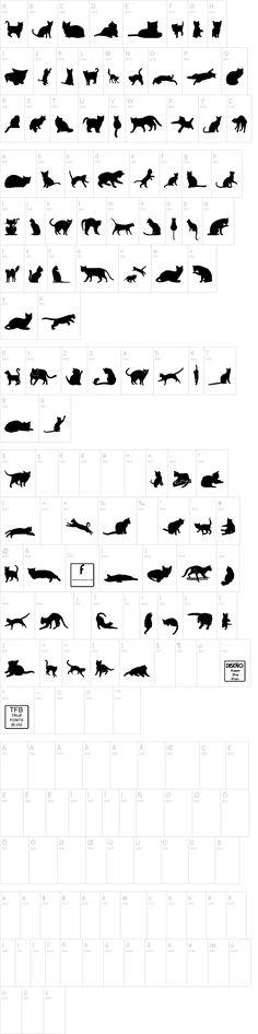 Kitty Cats TFB font - free dingbat font at dafont.com #CatSilhouette