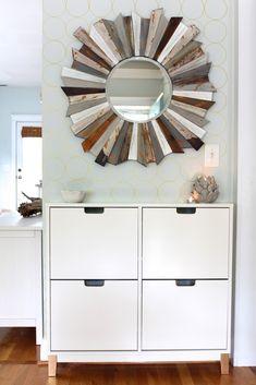 Chic Entryway with an Ikea Hack - Simple Stylings. Mirror ideas. Mirror DIY. Mirror walls. Sunburst mirror DIY. Sunburst mirror decor. www.simplestylings.com