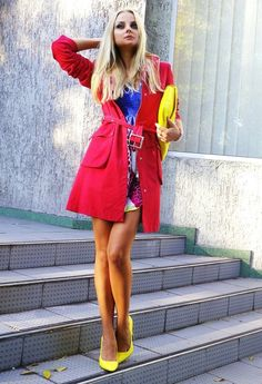 red Сoat +yellow Accessories  , Marella in Coats, Asos in Heels / Wedges, Asos in Clutches