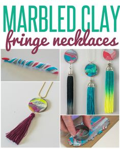 DIY Marbled Clay and fringe necklaces - great group craft class!