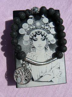 Bracelet, Pierres de Lave *Arbre de vie*. : Bracelet par dys