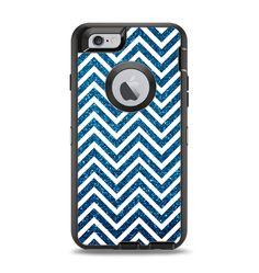 The White & Blue Glitter Print Sharp Chevron Apple iPhone 6 Otterbox Defender Case Skin Set