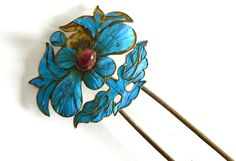 Large Qing Dynasty Kingfisher feather Hair Pin Antique VINTAGE