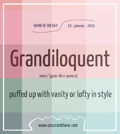 Todays is: Grandiloquent With the synonyms Do you know someone who loves to use big words to sound more important? Interesting English Words, Unusual Words, Rare Words, Big Words, Learn English Words, Unscramble Words, Language And Literature, English Writing Skills, Aesthetic Words