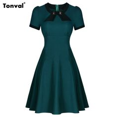 Dark Blue Garment Womens Short Sleeve Elegant Rockabilly Retro 50s Bow Vintage Lady Casual Formal Evening Party Swing Dresses