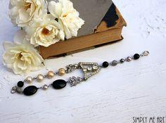 Vintage Art Deco Rhinestone Onyx Pearl and Gemstone by simplymeart, $70.00