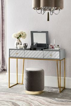 Buy Kirah Dressing Table from the Next UK online shop Corner Dressing Table, Dressing Room, 3 Drawer Bedside Table, Paint Effects, Grey Paint, Spare Room, Furniture Collection, Office Desk, Master Bedroom