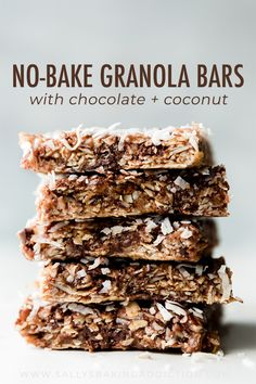 No Bake Chewy Granola Bars. No bake and extra chewy coconut granola bars with almond butter honey and chocolate. Taste like an almond joy candy bar! Chocolate Chip Granola Bars, No Bake Granola Bars, Chewy Granola Bars, Homemade Granola Bars, Butter Chocolate Chip Cookies, Snacks Homemade, Muesli Bars, Crunchy Granola, Chocolate Chips