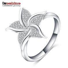 Lzeshine 2016新しいかわいい指輪シルバーメッキaaaジルコニアスター形状ファッショナブルな婚約指輪のため女性cri0103