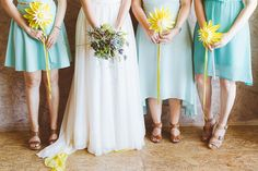 Aqua bridesmaids wit