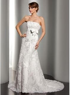 A-Line/Princess Strapless Court Train Satin Tulle Wedding Dress With Lace Beading Sequins Bow(s) (002012170) - JJsHouse