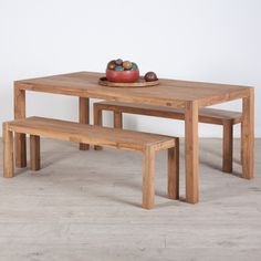 Reclaimed Teak Wood Dining Table and Benches Set (India) | Overstock.com Shopping - The Best Deals on Bar & Dining Tables 500