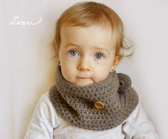 cowl from wool with wooden button...