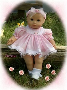 pink Precious American Doll Clothes, Ag Doll Clothes, Doll Clothes Patterns, Sewing For Kids, Baby Sewing, Girl Dolls, Baby Dolls, Bitty Baby Clothes, Doll Costume