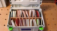 Is anyone storing their 50 pack Festool sandpaper/abrasive boxes in a Sortainer? Festool Systainer, Festool Sander, Festool Tools, Woodshop Tools, Workshop Storage, Workshop Organization, Garage Workshop, Tool Storage, Wood Workshop