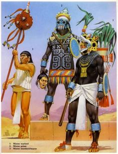 """Mixtec standard-bearer, priest, warlord This warlord's outfit is based on those worn by Eight Deer Nacuaa, king of Tilantongo, from the codex nuttall. He is armed with an atlatl, a weapon favored by the Mixtec upper crust. The priest is based off of Eight Deer's father in the codices bodley and nuttall. Source: Osprey Military Men-At Arms series """"Aztec, Mixtec and Zapotec Armies"""" by John Pohl. Illustrator: Angus McBride. Aztec Empire, Military Costumes, Contemporary History, Aztec Culture, Aztec Warrior, Aztec Art, Conquistador, Ancient Civilizations, Military History"""