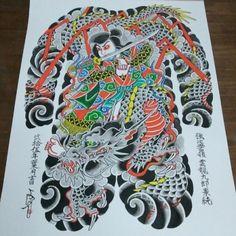 Japanese Tattoo Art, Japanese Art, Chest And Back Tattoo, Irezumi, Pet Accessories, Bodysuit, Symbols, Instagram Posts, Illustration