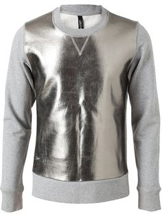 NEIL BARRETT Cotton sweatshirt with metallic leather front