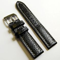 LUX Black Buffalo Grain Leather Watch band strap with contrast stiching
