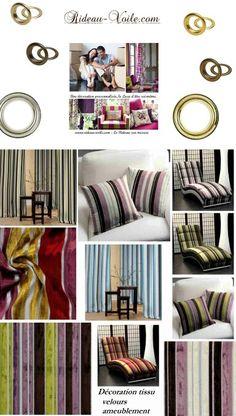 Drapes stoffen curtain függöny cortinas tende textiles fabrics velvet tissus deko déco interieur interior http://www.rideau-voile.com velours rayures rayé stripes lignes