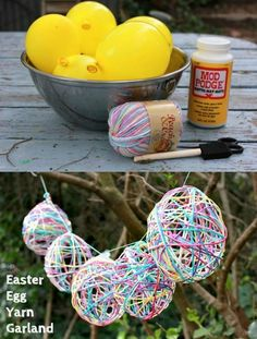 Mod Podged Yarn Easter Egg Garland. Weave some string though these yarn covered Easter eggs and hang it up. It's perfect for your Easter party decoration. http://hative.com/creative-easter-party-ideas/