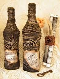 Image result for diy coastal painted and fabric decoupage wine bottle