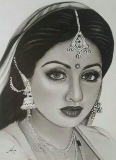 "Sridevi Art on is part of pencil-drawings - What a lovely Sketch! in Nagina Sridevi art"" Pencil Sketch Images, Pencil Sketch Portrait, Abstract Pencil Drawings, Pencil Sketch Drawing, Girl Drawing Sketches, Dark Art Drawings, Girly Drawings, Art Drawings Sketches Simple, Portrait Sketches"