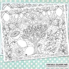 DIY Printable Lemonade Adult Coloring Book Page Hand Drawn Coloring Page for adults by Carrie StephensArt1 on Etsy