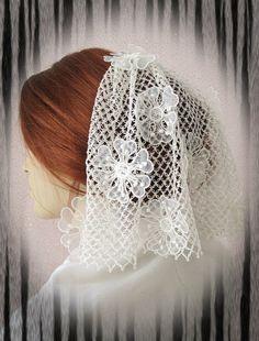 100 Handmade Crochet Wedding Veil Bridal Veils by gebridal on Etsy, $125.00