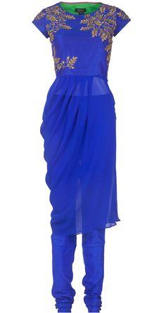 Embroidered blue drape by TISHA SAKSENA. http://www.perniaspopupshop.com/whats-new/tisha-saksena-embroidered-blue-drape-tsc0913t7bldr.html